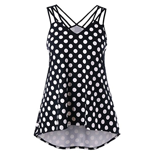 VEMOW Women's Shirt Ladies Girls Spring Summer New UK Sexy Home Beach Party Club School Cute Black White Wave Point Printing Plus Size Strappy Polka Dot Tank Tops Black gsDHXth6