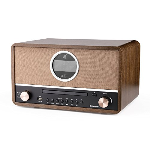 D&L Bluetooth Radio CD Player Wooden Portable Player Hi-Fi Speaker Home Audio Component Music System with FM Radio, USB for MP3,Aux-in for Smartphones & Tablets