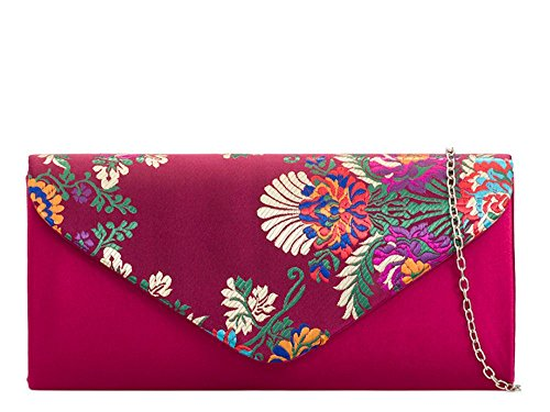 Bag Embroidered Clutch Satin Ladies Evening New Burgundy Floral Purse Yn7P6