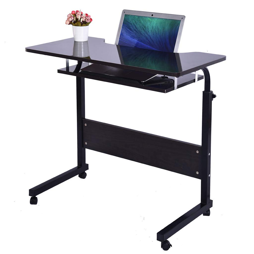 Simple Double Computer Tablets,Fangoog Household Height Adjustable Laptop Desk with Tray and Wheels, Writing Study Desk, TV Table Desktop for Home Office Desk, 31.5x15.7x27.5Inch (Black) by Fangoog Computer Tablets