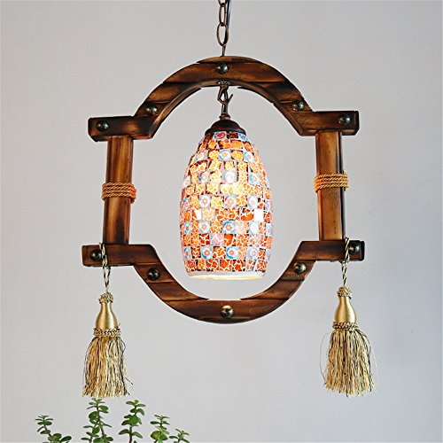 E27 Bohemian Style Personality Colored Fringed Chandelier Bar Villa Aisle Pendant Lamp Corridor Restaurant Indoor Home Decor Ceiling ()