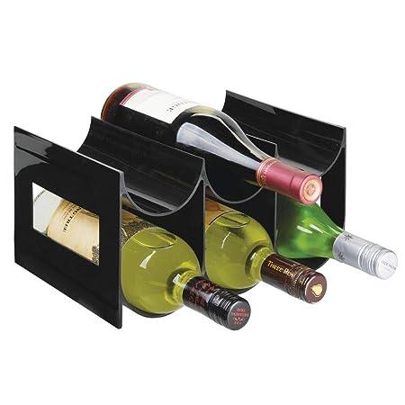 mDesign Práctico estante para botellas de vino – Botelleros para ...