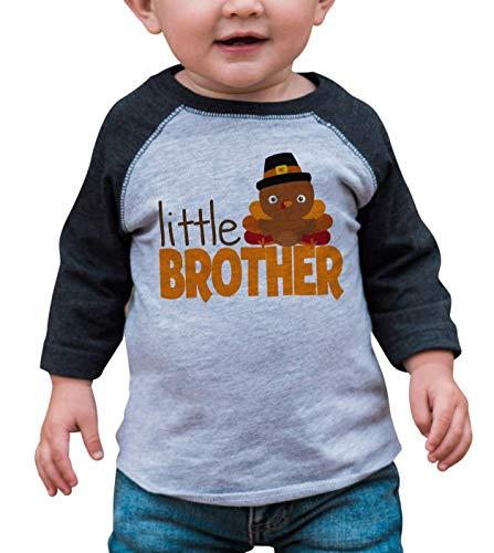 7 ate 9 Apparel Baby Boys Little Brother Thanksgiving Grey Raglan