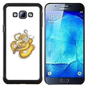 """For Samsung Galaxy A8 ( A8000 ) Case , Oro amarillo Dragón Serpiente Larga Cola"""" - Diseño Patrón Teléfono Caso Cubierta Case Bumper Duro Protección Case Cover Funda"""