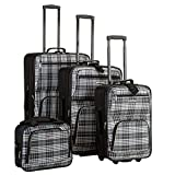 Rockland Luggage 4 Piece Luggage Set, Black Plaid, One Size