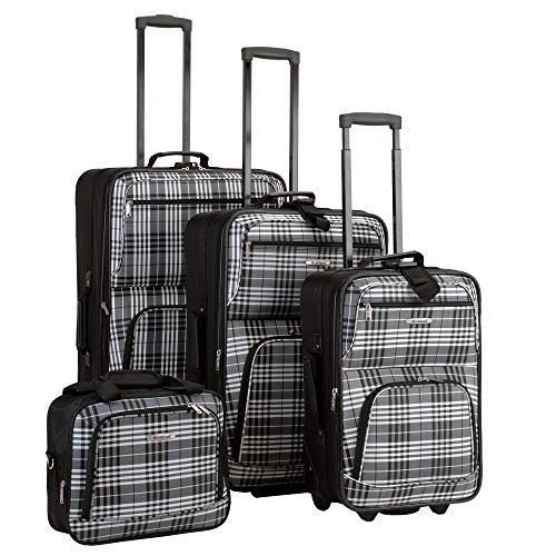 Luggage Sets Plaid (Rockland Luggage 4 Piece Luggage Set, Black Plaid, One Size)