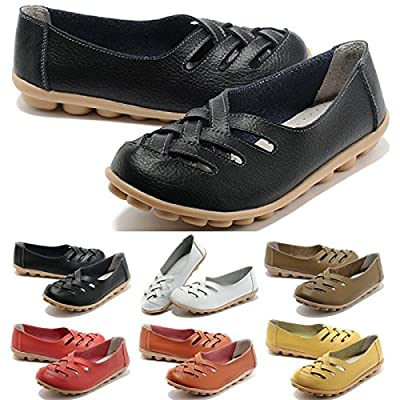 FUNOC Womens Ladies Casual Cut Out Leather Loafers Flat Shoes Moccasin Sandals