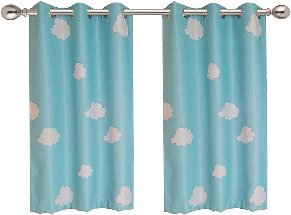 WINYY White Cloud Semi Blackout Window Curtain for Kids Bedroom Living Room Kitchen Grommets Eyelets Top Curtain Noise Reducing Home Decor 1 Panel W39 x H47 inch