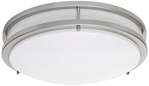 Zaire Brushed Nickel 14u0026quot; Wide Flushmount LED Ceiling Light