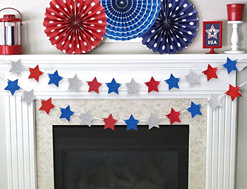 Patriotic Fourth of July Glitter Star Garland Ribbon Banner - 4th of July Party Decorations (Fourth Of July Parties)