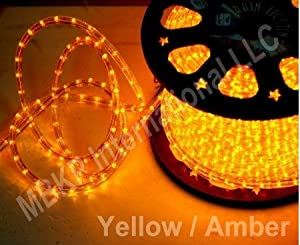 YELLOW 12 Volts DC LED Rope Lights Auto Lighting 10 Meters(32.8 Feet)