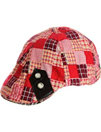 LL Spring Summer Light Weight Crazy Quilt Plaid Newsboy Ivy Cap - Red -Small  Medium a2f59a091950