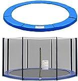 Trampolinzubehör Ersatznetz Sicherheitsnetz oder Federabdeckung für Trampolin 244cm – 6Stangen 305cm – 6Stangen 305cm – 8Stangen 366cm – 8Stangen 396cm – 8Stangen 430cm – 8Stangen,180cm Höhe Trampolinnetz,blau PVC - UV beständige Randschutz Randabdeckung