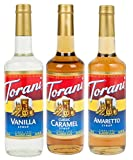 Torani Syrup Coffee Variety Pack - Vanilla, Caramel Classic, Amaretto, 3-count, 25.4-ounce Bottles