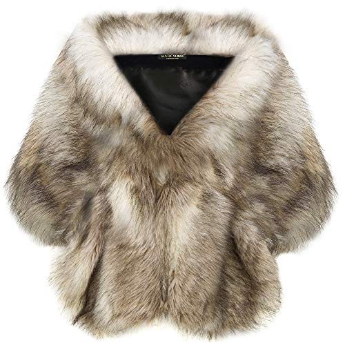 BABEYOND Womens Faux Fur Collar Shawl Faux Fur Scarf Wrap Evening Cape for Winter Coat (Camel, Small)
