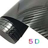 "GOGOLO Glossy Self Adhesive 5D Waterproof Car Vinyl Wrap Carbon Fiber Line Bubble Free Vehicle Sticker Film Wrapping Decals Exterior & Interior DIY Decoration 59.8"" x 19.7"" for Phone/Car/PC/Motorcycle/Bicycle/Guitar"