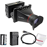 Feelworld S350 3.5 Inch SDI EVF Electronic View Finder with HDMI and SDI Interfaces for BMCC BMPCC BMPC DSLR Cinema and Broadcasting, comes with Battery Kit
