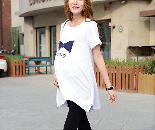Femminili White Maglietta Donna Taglie Shirt Casual Maglietta Gravidanza BESTHOO Manica Irregolare Maternity T Bluse Stampa Fiocco Forti Orlo per Top Stampa Corta S71wpFq