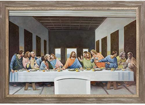 La Pastiche LDV2033-FR-8375724X36 The Last SupperMiramar Distressed Charcoal Grey Framed Hand Painted Oil Reproduction 41 x 29 Multi / La Pastiche LDV2033-FR-8375724X36 The Last SupperMiramar Distressed Charcoal Grey Framed Hand Pa...