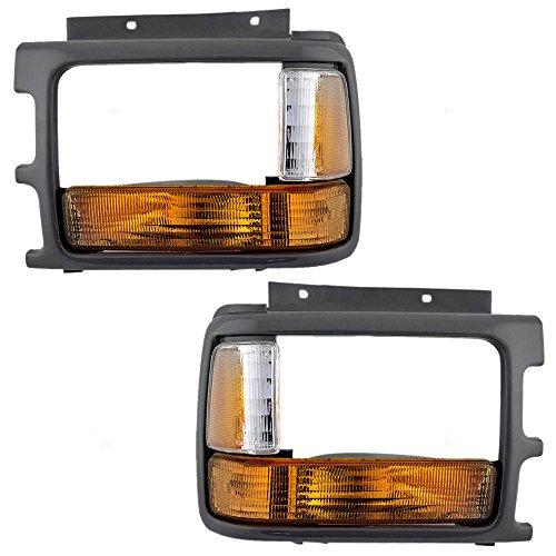 Driver and Passenger Signal Side Marker Lights & Headlamp Bezels Replacement for Dodge Pickup Truck 83506613 83506612 Dakota Passenger Side Headlamp