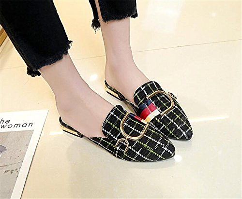 Smoking Black On Loafers Slippers Loafers Slip Womens Backless Mule Shoes Velvet COLOV 0EFPqwx5x