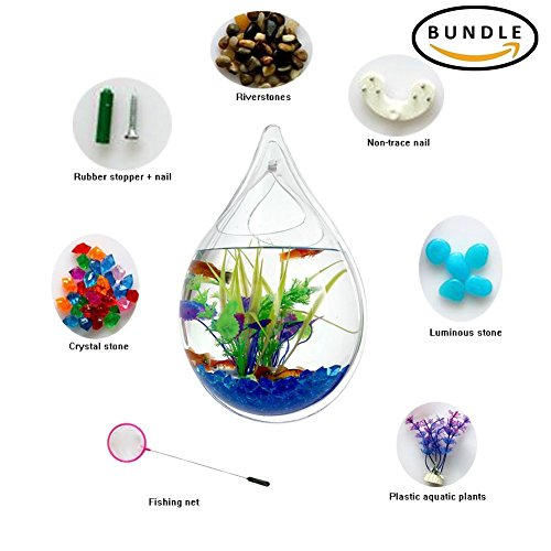 Hofumix Wall Hanging Fish Tank Acrylic Fish Bubble Water Drop Type Flower Pot with Fake Plants 9.4in