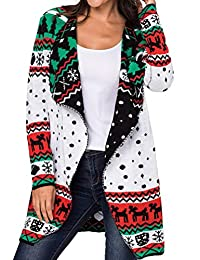 BIUBIONG Women Open Front Knit Long Cardigan Ugly Christmas Sweaters Coat Outwear