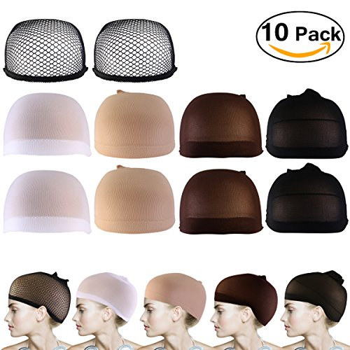 Price comparison product image PIXNOR 10Pack Wig Caps ,Nylon Net Mesh Wig Caps Neutral Nude White Brown and Black