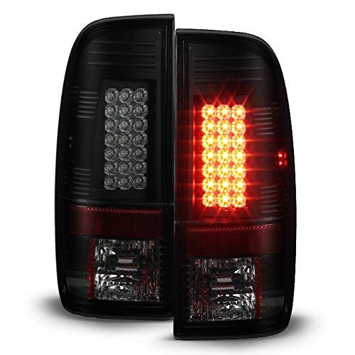 08-16 Ford F-Series Super duty Truck Black Bezel Smoked Lens LED Tail Brake light lamp Set (Light Duty Truck Series)