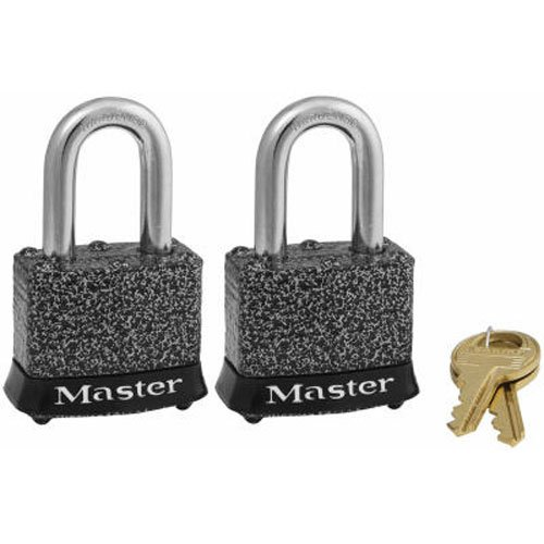 Master Lock Padlock, Rust-Oleum Certified Laminated Steel Lock, 1-9/16 in. Wide, 380T (Pack of 2-Keyed Alike) (2 Keyed Locks)