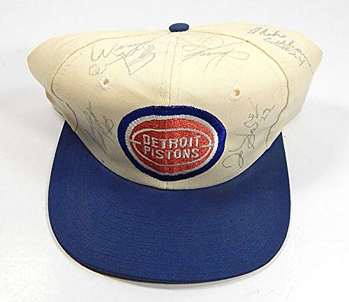 Detroit Pistons Signed Baseball Hat Vinnie Johnson John Salley & 3 Others - NBA Autographed Miscellaneous Items