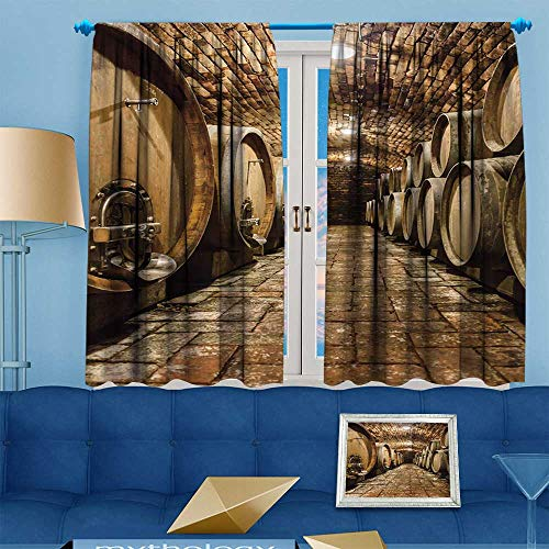 (PRUNUS Blackout Curtain Rows of Oak Barrels in Underground Wine Cellar Thermal Insulating Curtain W63 x L63 inch)