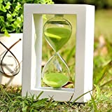 EDEALYN Fashion Home Decor ,Office, School and Decorative Use Wood frame 45 Minute Hourglass Glass Sand Timer Sand clock timer for Kitchen (White Frame Green Sand)