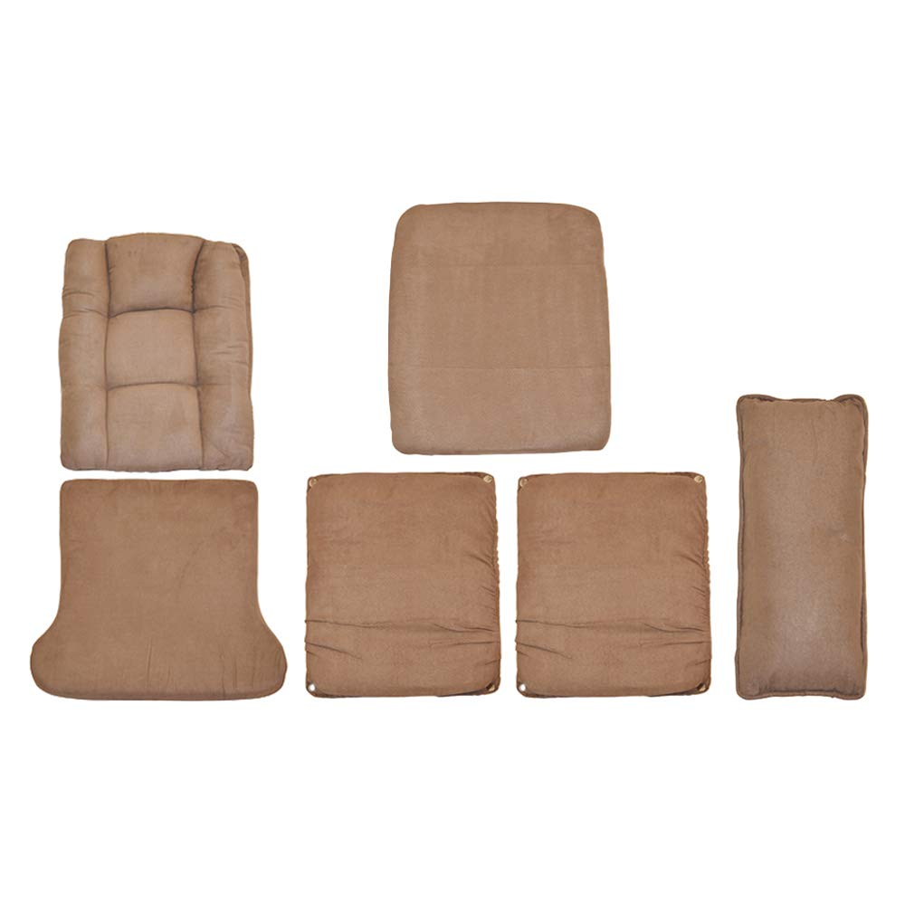 Storkcraft Tuscany Glider and Ottoman Replacement Cushion Set– Stylish Replacement Cushion Set for Glider and Ottoman, 6 Pieces, Padded Arm Rests, Extra Lumbar Cushion, Durable, Cleanable (Chocolate)