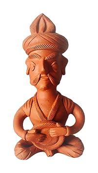 KHUBLAL MURTI KALA KENDRA Teracotta Musical Man Figurine (12 cm x 4 cm x 6 cm, Brown)