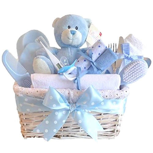3fcf9b275a39 Angel DELUXE White Wicker Boy Baby Gift Basket   Baby Boy Gift ...