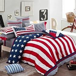 Joybuy 100% Long Staple Cotton American Flag Bedding Set Queen Size Duvet Cover Sheet Pillow Case 4pcs Bedding Set