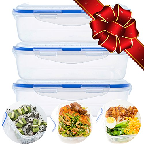 Set of 3 Premium Quality Food Containers - Airtight Lunch Box Containers with Snap Locking Lids | Microwave Dishwasher Safe PP Material Plastic Lunch Boxes
