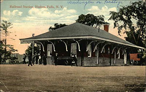 Railroad Station Hudson Falls, New York Original Vintage Postcard