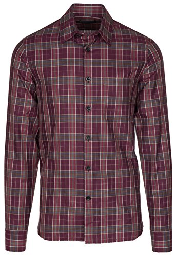 Alexander McQueen Men's Burgundy Plaid Long Sleeve Casual Shirt, Burgundy, L