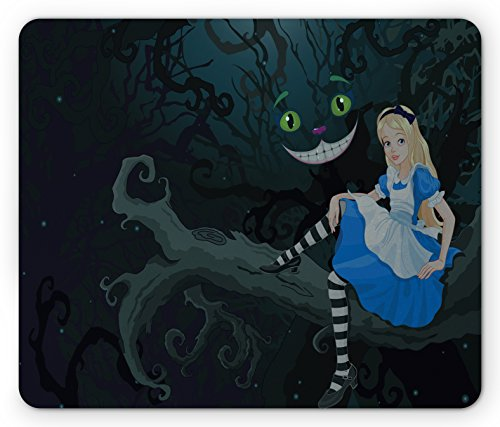(Ambesonne Alice in Wonderland Mouse Pad, Alice Sitting on Branch and Chescire Cat in Darkness Cartoon Style, Standard Size Rectangle Non-Slip Rubber Mousepad, Multicolor)