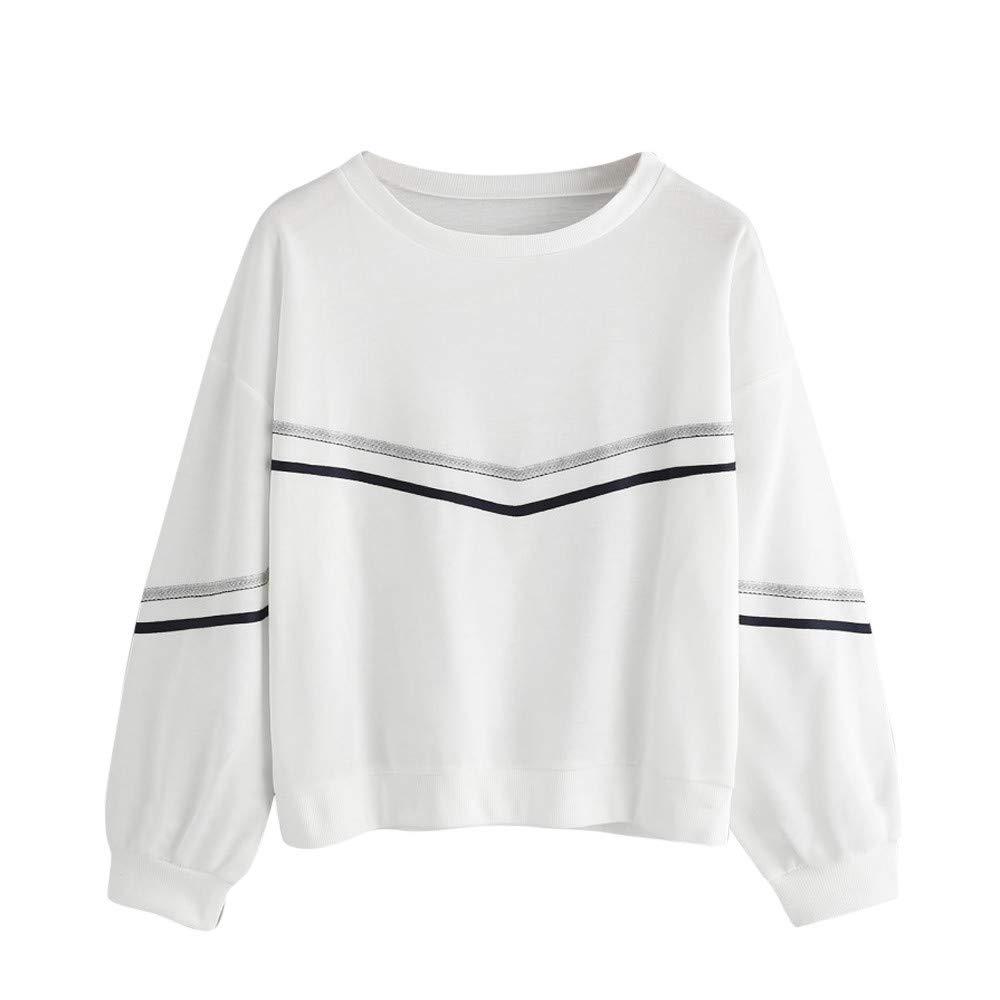 Festiday White Sweatshirts For Women Clearance Sale 2018 New Casual Women's Coats, Jackets & Vests Women Long Sleeve Stripe Tape Drop Shoulder Sweatshirt O-Neck Pullover Blouse
