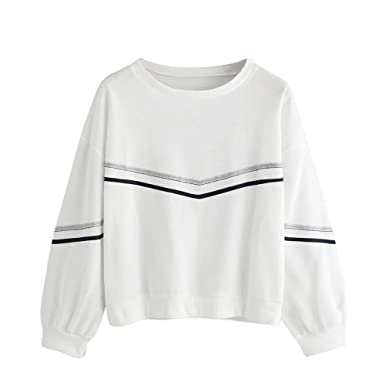 fe32dae3e64 NRUTUP Women Pullover Blouse Long Sleeve Stripe Tape Drop Shoulder  Sweatshirt O-Neck Top Blouse