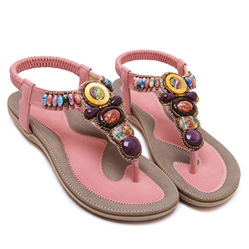 YORWOR Women's Summer Bohemia Beach multicolour Beaded Clip Toe Sandals Pink pqQad3MP