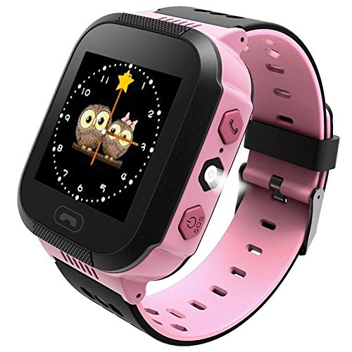 ANDROSET KIDS GPS TRACKER WATCH, Holiday Gift List 2015-2016 Mini GPS Tracker Watch For Kids- SOS Emergency Anti Lost Smart Mobile Phone App Bracelet Wristband Two Way Communication (PINK)