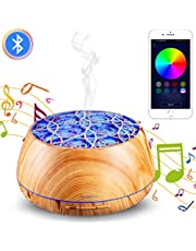 YOUNGDO Diffusore di Aromi 400 ml, Diffusore di Oli Essenziali 30 Colori LED con Altoparlanti Bluetooth, Umidificatore Ambiente con Telecomando App, per Ufficio,Yoga,Spa,Camera,Sale Conferenza