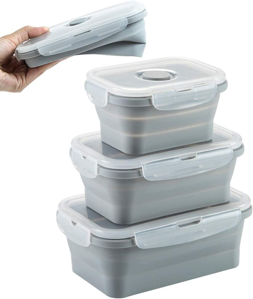 MAXCOOK Collapsible Stacking Silicone Lunch Boxes with Airtight Lid, Portable Bento Storage Containers for Food, Microwave, Freezer, Dishwasher Safe, BPA Free, Set of 3 (Gray, Set of 3)
