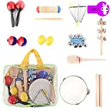 HIMM Kids Musical Instruments Set 10Pcs Baby Music Band Education Percussion Toys for Toddlers Kids Preschool Children with Storage Bag
