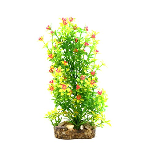 uxcell 8 Inch High Green Plastic Lifelike Tree Terrarium Plant Landscape Ornament Habitat Decor for Reptiles and Amphibians
