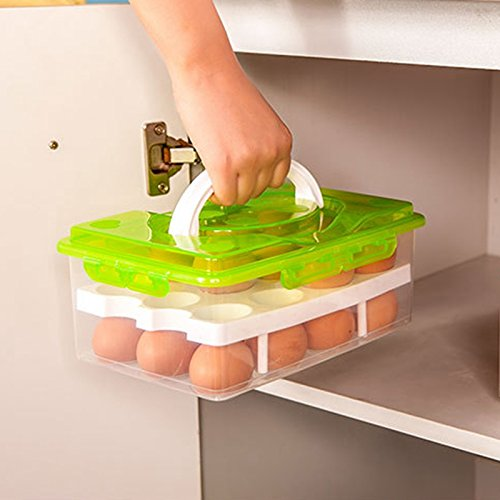 24 Grid Egg Food Container Organizer Convenient Storage Boxes Double Layer Durable Multifunctional Crisper Kitchen Products (Random Color) EG003